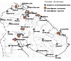 Карта-схема сети радиационного контроля Мурманского УГМС