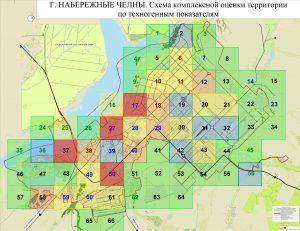 Схема комплексной оценки территории по техногенным показателям Набережных Челнов