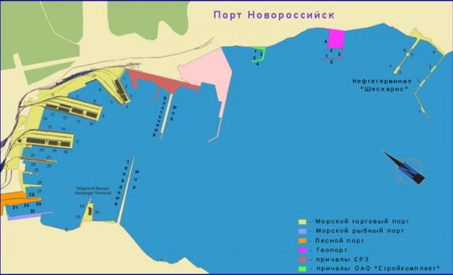 Схема порта Новороссийска