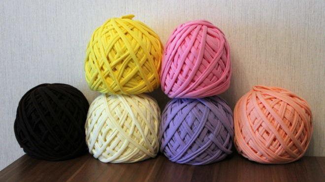 Трикотажные нитки для вязания ковриков цена 32